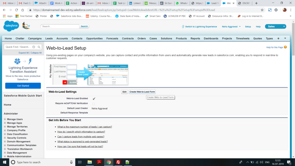 Attachments for Salesforce Web to Lead